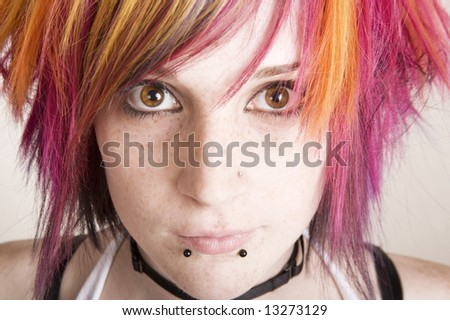 Close-Up of a Punk Girl with Brightly Colored Hair