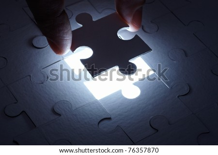 close up of a puzzle game parts - stock photo