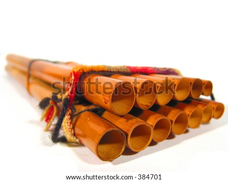 Close-up of a Quena (musical instrument from Peru) - stock photo