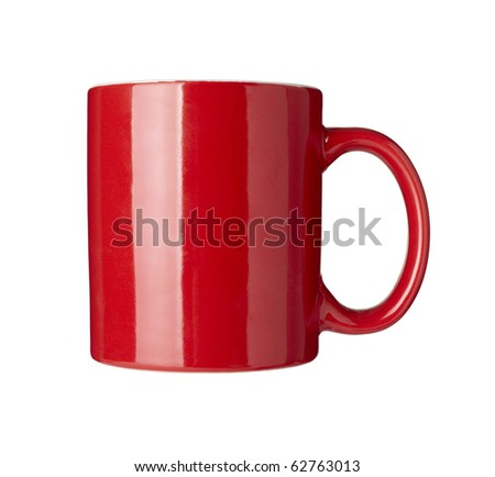 close up of  a red coffee cup on white background  with clipping path - stock photo