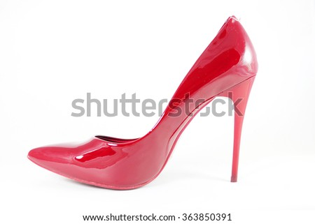 Close up of a red high heels on white background