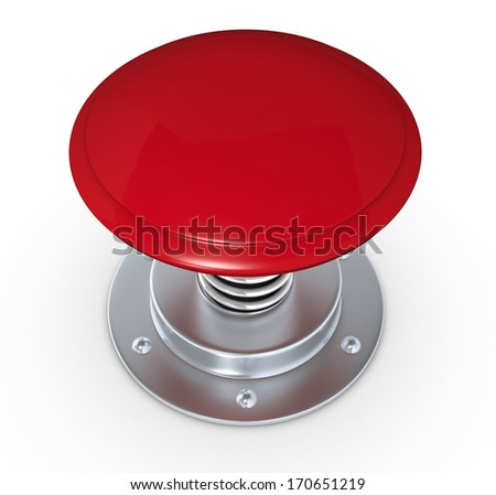 close up of a red push button (3d render) - stock photo