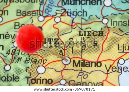 Milano pin on map stock images royalty free images vectors close up of a red pushpin in a map of milano milan gumiabroncs Image collections