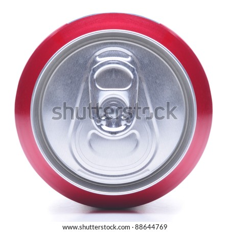 Close Up of a Red Soda Can Top On it side white background with shadow