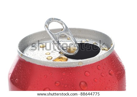 Close Up of a Red Soda Can with Pull Tab open with condensation - stock photo