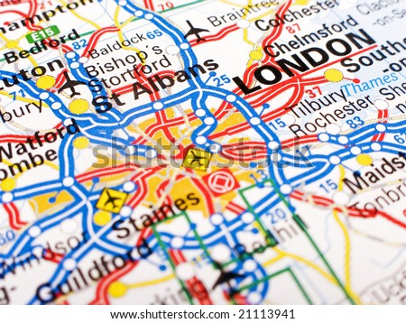 Close up of a road map of London - stock photo