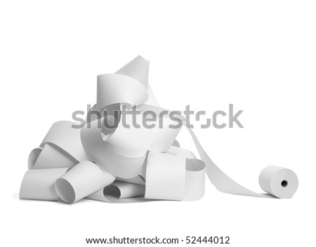 close up of a roll of accounting paper on white background with clipping path - stock photo
