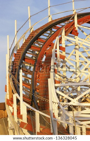 Close-up of a roller coaster track - stock photo