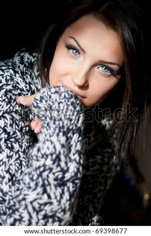 Close up of a romantic young girl - stock photo