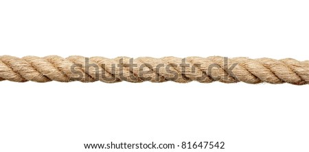 close up of a rope on white background with clipping path - stock photo