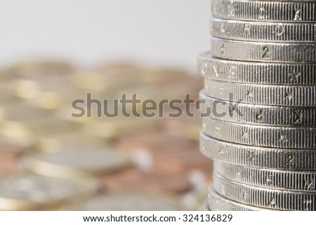 close up of a row of coins
