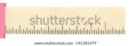 Close up of a  ruler/label on white background - stock photo