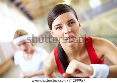 Close-up of a running girl?s face - stock photo