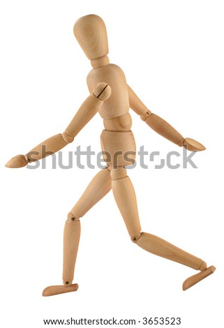 close-up of a running wooden figure isolated on pure white background