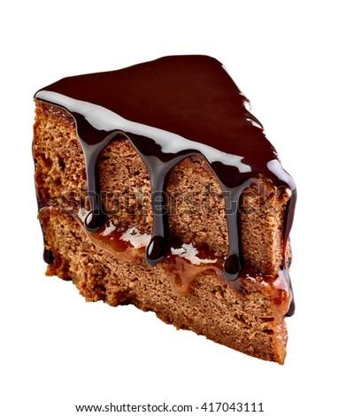 close up of a sacher cake cake - stock photo