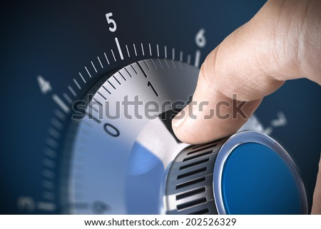Close up of a safe lock on a vault with blur effect and focus on the number one, blue tones. Conceptual image suitable for data security management and protection. - stock photo