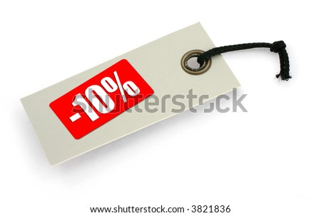 close-up of a Sale tag against white, a small shadow under it, no copyright infringement - stock photo