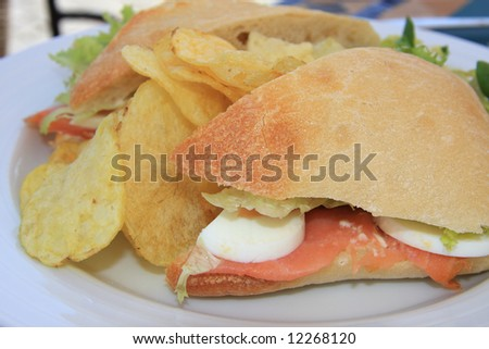 Close-up of a salmon sandwich with chips and lettuce