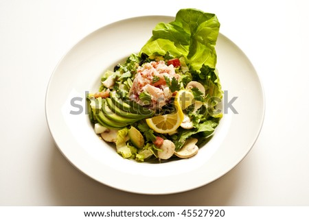 Close-up of a seafood salad, with lettuce, avocado, mushrooms, and lemon, in a white bowl. Horizontal format.