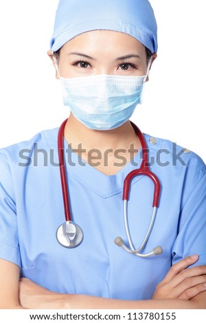 Close up of a serious Female surgeon doctor or nurse isolated on white background, model is a asian woman