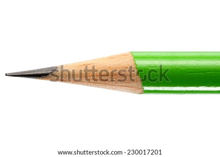 Close up of a Sharpened Pencil Isolated on White Background. Macro with Text Space. Top View - stock photo