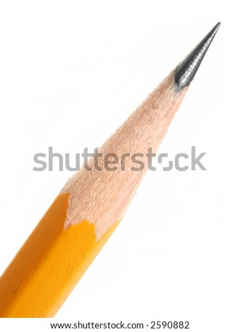 Close-up of a sharpened pencil tip, isolated on white.