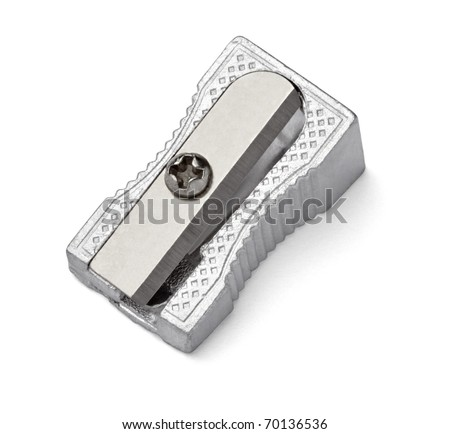 close up of a sharpener on white background with clipping path - stock photo
