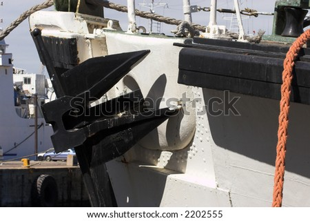 Close up of a ships anchor while in port