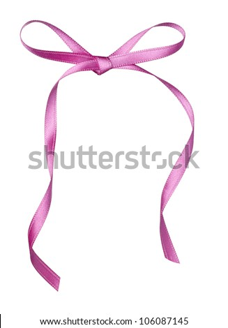 close up of  a silk ribbon knot on white background with clipping path - stock photo