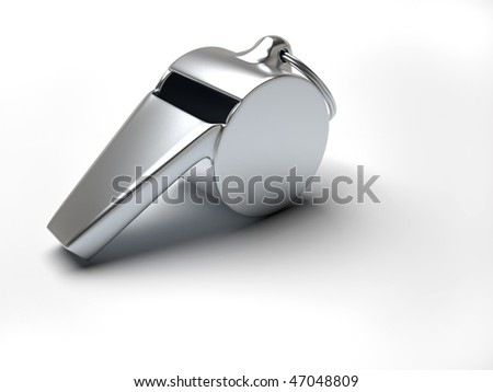 Close up of a silver whistle over white - 3d render illustration - stock photo