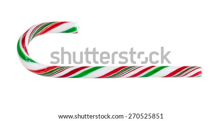 Close up of a single candy cane isolated on white background. - stock photo