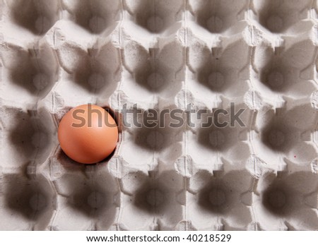 Close-up of a single egg in a packing - stock photo