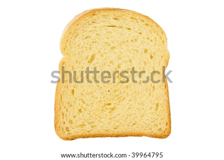 Close up of a slice of bread isolated - stock photo