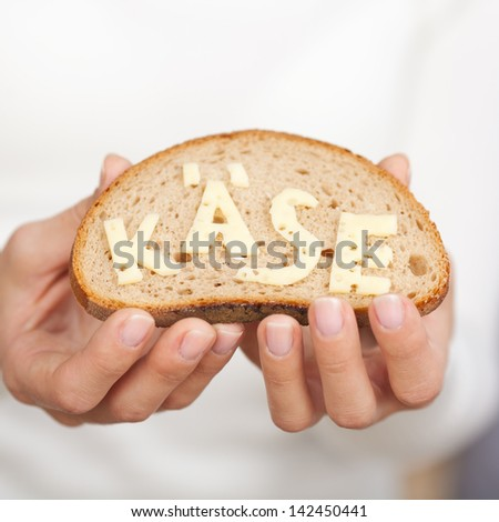 Close-up of a slice of bread with the Cheese word written in the German language made with real cheese - stock photo