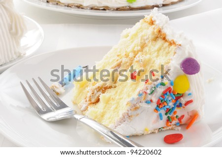 Close up of a slice of cake - stock photo