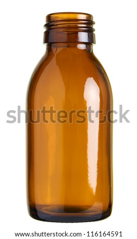 Close up of a small glass bottle (pill/sirup bottle) isolated on white background - stock photo