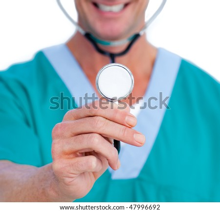 Close-up of a smiling doctor holding a stethoscope against a white background