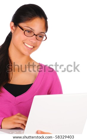 Close up of a smiling female teenage student with long brown hair holding a laptop computer. Brunette girl wearing eye glasses in vertical format isolated on white. - stock photo