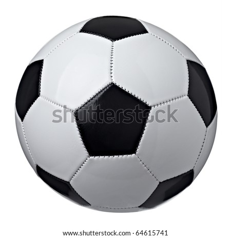 close up of  a soccer ball on white background  with clipping path - stock photo