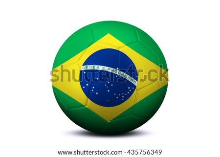 Close up of a soccer ball with national flag of Brazil, isolated on white background