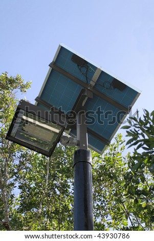 Close up of a solar powered street light - stock photo