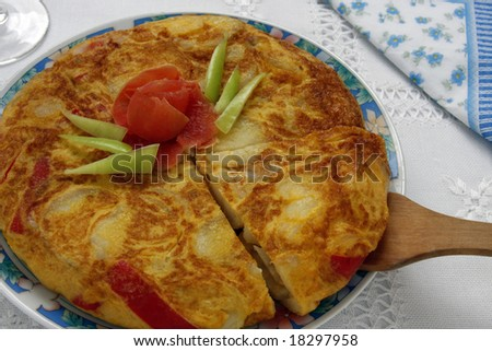 Close up of a Spanish omelette. Focus on the center. - stock photo