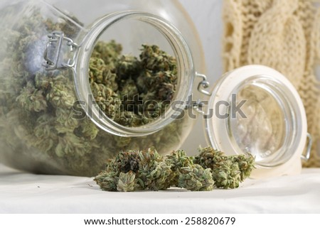 close up of a stash of medicinal marijuana for a concept - stock photo