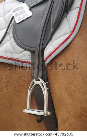 Close-up of a stirrup part of an english classic riding saddle on a brown horse at a three day Eventing Competition - stock photo