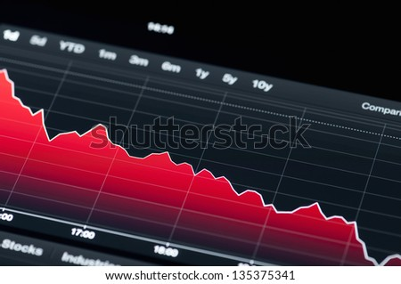 Close-up of a stock market graph on a high resolution LCD screen. - stock photo