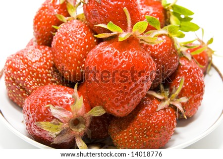 Close up of a strawberry isolated on white background - stock photo
