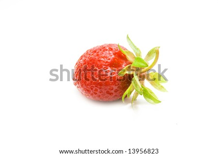 Close up of a strawberry on white background - stock photo