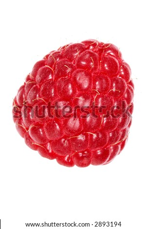 Close up of a strawberry  with water drops - stock photo