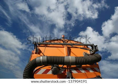 Close-up of a street cleaning truck - stock photo