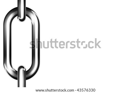 Close up of a strong chain with clipping path isolated on a white background